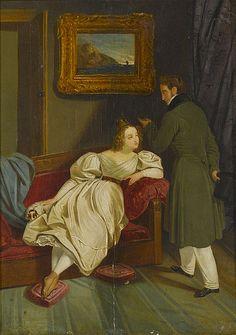 Constance Mayer (attr) -  Interieur mit elegantem Paar