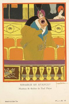"""Serais-je en avance""? Illustration of a theater coat by Paul Poiret from Gazette du Bon Ton, 1912."