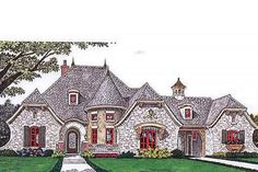 European Style House Plan - 4 Beds 4 Baths 3643 Sq/Ft Plan #310-686 Exterior - Front Elevation - Houseplans.com