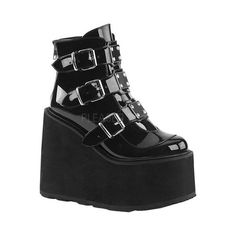 Black Patent Swing 105 Platform Ankle Boot at Gothic Plus - Gothic Clothing, Jewelry, Goth Shoes & Boots & Home Decor Buckle Ankle Boots, Platform Ankle Boots, Wedge Ankle Boots, Leather Ankle Boots, Ankle Booties, Shoe Boots, Platform Wedge, Platform Swing, Black Ankle Boots