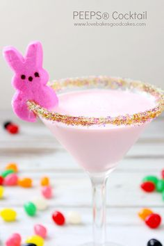 This PEEPS® Cocktail is perfect for Easter! Made with Cherry Vodka and Triple Sec! The sugared rim makes for a pretty touch!