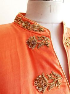 """Peach Front Open Style Kurta with Zardozi bootas on both sides. It's paired here with our Gold Beige Skirt which you can Shop from our """"Lowers"""" Collection. Zardosi Embroidery, Embroidery On Kurtis, Hand Embroidery Dress, Embroidery Motifs, Embroidery Suits, Embroidery Fashion, Hand Embroidery Designs, Beaded Embroidery, Crazy Quilting"""