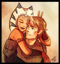 Ahsoka Tano and Anakin Skywalker from the Clone Wars. By Andythelemon on Tumblr.
