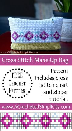 Check the way to make a special photo charms, and add it into your Pandora bracelets. Free Crochet Pattern - Cross Stitch Make-Up Bag / Pouch by A Crocheted Simplicity Crochet Shell Stitch, Bead Crochet, Cute Crochet, Beautiful Crochet, Crochet Cross, Crochet Purse Patterns, Crochet Pouch, Knitting Patterns, Crochet Bags
