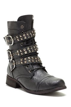Studded Buckle Strap Boot