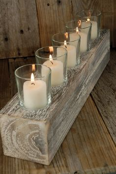 Wood Block Votive Holder & 5 Glass Votive Cups could decorate for different holidays Wood Candle Holders, Votive Holder, Mason Jar Candle Holders, Glass Holders, Wood Crafts, Diy And Crafts, Easy Crafts, Christmas Candle Decorations, Diy Christmas