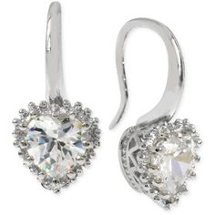 Betsey Johnson Silver-Tone Crystal Heart Drop Earrings ($35) ❤ liked on Polyvore featuring jewelry, earrings, silver, silver tone earrings, crystal jewellery, betsey johnson earrings, silver tone jewelry and betsey johnson jewelry