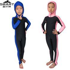 SBART Anti-UV Wetsuit Kids Lycra Hooded Long Sleeve Wet Suit Full Body Swimwear Boys Girls Dive Skins Free Diving Swim Suits