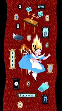 """Disney """"Alice in Wonderland"""" 1951 concept art by Mary Blair down the rabbit hole"""