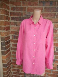 PURE & SIMPLE 100% Linen Tunic Blouse L Large Shirt Top Long Sleeve Pocket Pink #PureSimple #Blouse #Casual