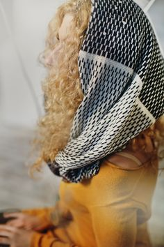 Dash pattern navy and white alpaca wool Infinity Scarf by Ingugu