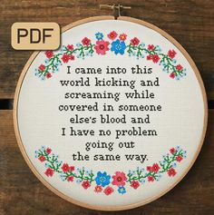 Embroidery Hoop Art, Cross Stitch Embroidery, Embroidery Patterns, Abstract Embroidery, Funny Cross Stitch Patterns, Cross Stitch Designs, Naughty Cross Stitch, Needlepoint Designs, Digital Pattern