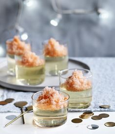 A refreshing and boozy combination of Prosecco jelly and Aperol granita that is perfect for summer.