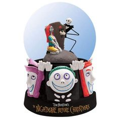 """Jack and Sally have found true love. """"CELEBRATING OUR LOVE"""" JACK SKELLINGTON & SALLY SNOWGLOBE, WITH LOCK, SHOCK AND BARREL #Disney #Nightmare #TimBurton"""
