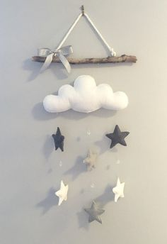 Cloud & Stars Driftwood Mobile The Effective Pictures We Offer You About baby room decor dark wood A quality picture can tell you many things. Baby Bedroom, Baby Room Decor, Nursery Decor, Baby Crafts, Felt Crafts, Diy And Crafts, Boy Room, Kids Room, Driftwood Mobile