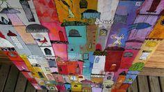 Elke Trittel acrylics,collage on board 120/80cm