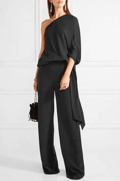 Black stretch-silk crepe and satin Slips on 96% silk, 4% elastane; trim: 100% polyester Dry clean Imported