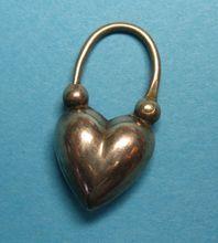 Victorian c1885 Sterling Silver English Puffy Heart Padlock Charm -RARE