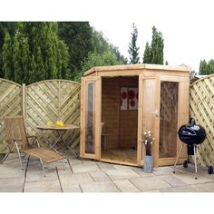Mercia Garden Products Corner 6.5 Ft. W x 6.5 Ft. D Wooden Log Cabin