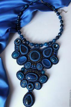 """Купить """"Цвета радуги""""-синий - тёмно-синий, комплект украшений, серьги с камнями"""