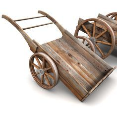 medieval wheelbarrow For all those protect the merchant quests Wooden Cart, Wooden Wagon, Wheelbarrow Planter, Wood Projects, Woodworking Projects, Medieval Furniture, Flower Cart, 3d Modelle, Wagon Wheel
