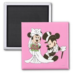 Mickey Mouse and Minnie Wedding 2 Inch Square Magnet