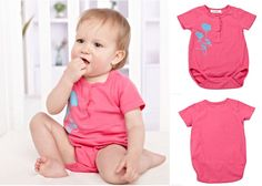 Newborn Infant Baby Short Sleeve Bodysuit Romper Jumpsuit Outfit Rose 0-3M #ibaby #Everyday