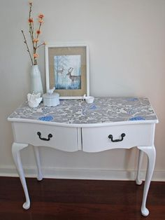 DIY wallpaper dressing table - had the idea to do this to the top of a dresser for my daughter, glad someone has already tried it so I have something to follow:)