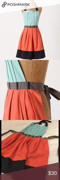 "HPNWT Anthropologie Cuisine Couture Apron Adorable colorblock apron by Anthropologie in Turqoise.  34""L, 30""W.  Tie at neck and waist.  Pockets on each side. Anthropologie Other"