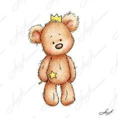 The drawing of teddy bear in the crown holding magic wand with a star. Printable Art. Digital file. Instant Download