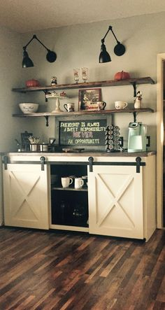 DIY Coffee Bar Ideas - Breathtaking drink stations in country style for small rooms and small kitchens - disappointment of your lifeDIY coffee nook ideas and farm coffee bar decorating ideasSimplest stool Ana WhiteSimplest Stool Kitchen Decor, Coffee Bar Home, Decor, Bars For Home, Coffee Kitchen, Kitchen Bar, Kitchen Remodel, Bar Diy Projects, Home Decor