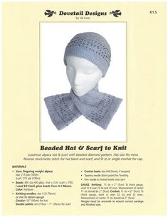 Beaded Hat & Scarf to Knit - Dovetail Designs K1.5