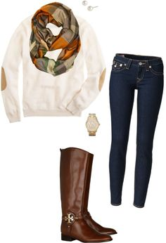 white sweater with elbow patches, skinny jeans, brown boots, and a patterned scarf. Super Cute!