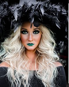 Witch costume / couture Halloween costume / happy Halloween / fashion costumes / Halloween witch makeup / green lipstick