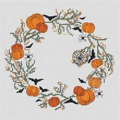 Fall Cross Stitch, Cross Stitch Borders, Cross Stitch Flowers, Counted Cross Stitch Patterns, Cross Stitching, Halloween Cross Stitches, Hobbies And Crafts, Digital Pattern, Flower Patterns