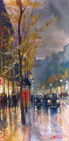 yuriy shevchuk | Prague Old Vaclavske Square 01 Painting by Yuriy Shevchuk - Prague Old ...