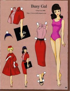 Barbie pages by Siyi Lin These four paper dolls are from the artist Siyi Lin and were published in January/February 2009 issue of Haute Doll magazine. It The post Barbie pages by Siyi Lin appeared first on Paper Ideas. Barbie Paper Dolls, Vintage Paper Dolls, Vintage Barbie, Vintage Toys, Art Origami, Paper Art, Paper Crafts, Paper Dolls Printable, Barbie World