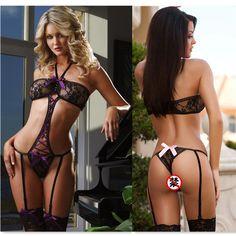 Vind meer exotische kleding informatie over Vrouwen sexy lingerie roze/rood/blauw/paars boog kant transparante…