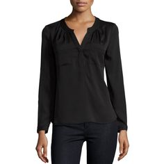 Milly Brooke Long-Sleeve Blouse ($290) ❤ liked on Polyvore featuring tops, blouses, black, long sleeve tops, long sleeve stretch top, relaxed fit tops, stretch blouse and milly top