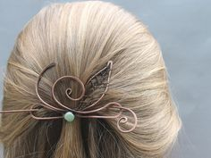 Thin Hair Barrette Copper Wire Leaf Green by CopperStreetStudios