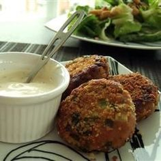 """Great crab cakes with lots of flavor and spice. Serve with homemade aioli and a crisp white wine!"""