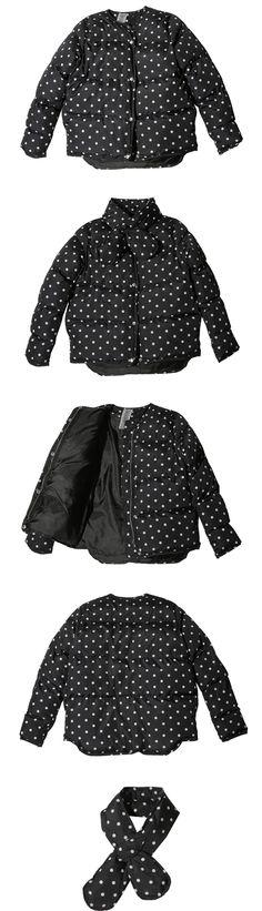 可爱圆点围脖配套羽绒混纺棉大衣-黑色   韩国女装NO.1网店 STYLENANDA 中文官网