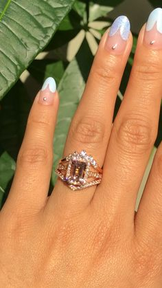This morganite trio stack showcase a halo diamond morganite engagement ring set in rose gold scalloped diamond band with an emerald cut morganite… Gold Diamond Wedding Band, Rose Gold Engagement Ring, Diamond Wedding Rings, Engagement Ring Settings, Bridal Rings, Vintage Engagement Rings, Halo Diamond, Wedding Bands, Diamond Cuts