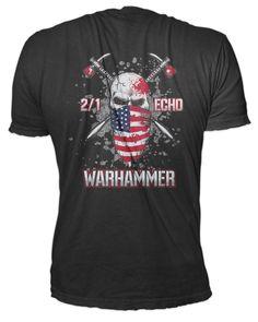 Battalion, Marines, Echo CO Warhammer Black T-shirt. High quality premium, pre-shrunk combed and ring-spun soft cotton, 32 singles ounce jersey knit t-shirt. Usmc Emblem, Mens Tops, T Shirt, Black, Fashion, Supreme T Shirt, Moda, Tee Shirt, Black People