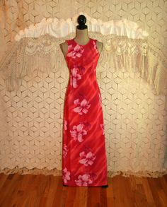 Red  Pink Tropical Floral Dress Maxi Dress Beach by MagpieandOtis