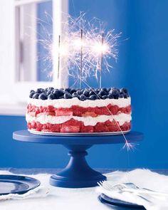 "Beautifully delicious, celebratory cake via raspberries (or strawberries), blueberries, ladyfingers, & marscapone cheese - ""Happy Birthday, America!"""
