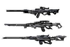 (top) is the rifle used by the snipers of Su'to'ga'kuri (middle)sniper rifle used from Sholo (bottom)Electrigo Gotreoh sniper rifle.