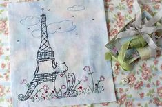French Cat Eiffel Tower Hand Embroidery PDF Pattern Instant