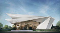 Architecture Origami, Architecture Building Design, Facade Design, Concept Architecture, Contemporary Architecture, Building Rendering, Contemporary Design, Design Villa Moderne, Modern Villa Design