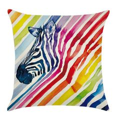 Cheap patterned pillow cases, Buy Quality pillow case directly from China pillow case pattern Suppliers: Colorful Linen Cotton Pillowcase Waist Rainbow Animal Elephant Zebra Unicorn Wolf Bird Pattern Pillow Case